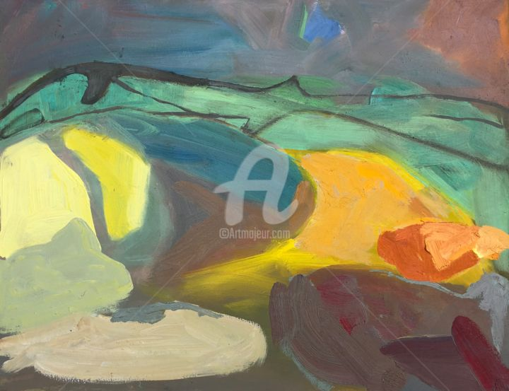 Lady in the Hills - Painting,  19.7x25.6 in, ©2023 by Georgina Rey -