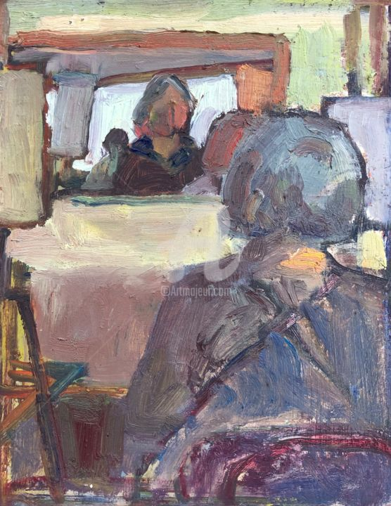 Sharon in Class - Painting,  12x9 in, ©2020 by Georgina Rey -