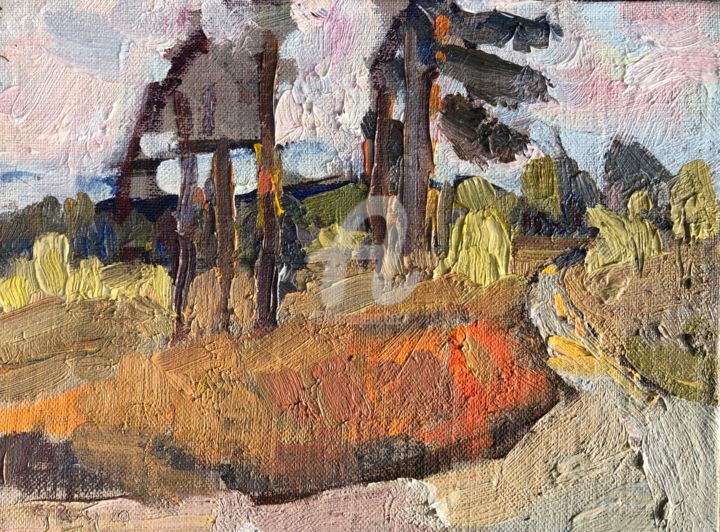 Brown Ferns - Painting,  6.1x7.9 in, ©2020 by Georgina Rey -                                                                                                                                                                          Expressionism, expressionism-591, Nature