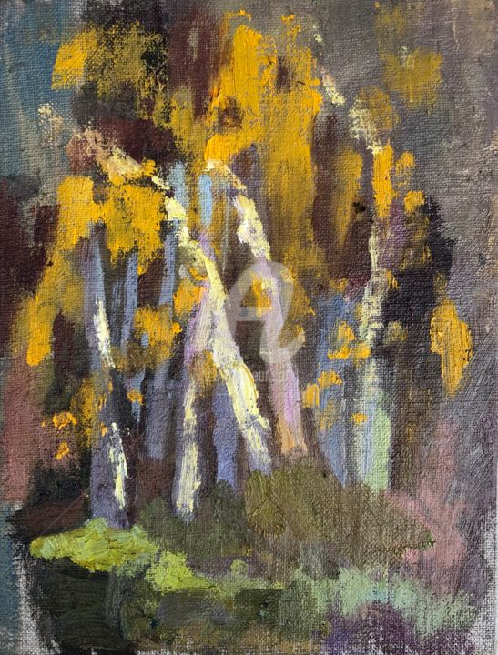 Sunlight on Birches, Autumn - Painting,  7.9x5.9 in, ©2020 by Georgina Rey -                                                                                                                                                                          Expressionism, expressionism-591, Nature