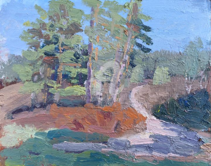 Pine Trees - Painting,  8.1x10.2 in, ©2020 by Georgina Rey -                                                                                                                                                                          Expressionism, expressionism-591, Landscape