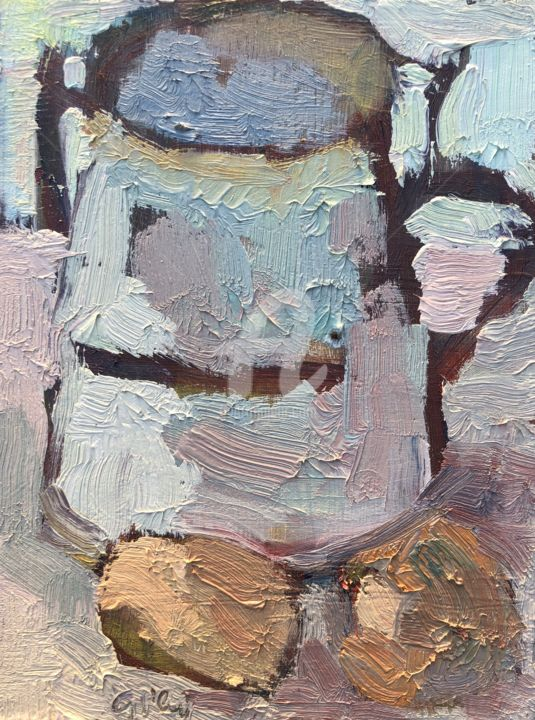 Milk Jug and Eggs - Painting,  8x6 in, ©2020 by Georgina Rey -                                                                                                                                                                          Expressionism, expressionism-591, Still life