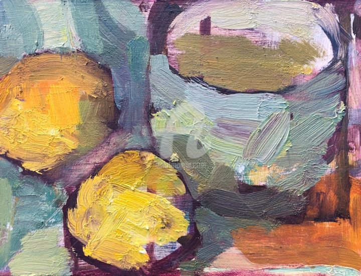 Cup and lemons, semi abstract - Painting,  6x8 in, ©2019 by Georgina Rey -                                                                                                                                                                          Expressionism, expressionism-591, Still life