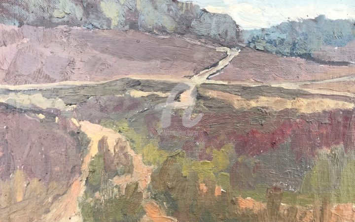 Paths in the heather, Hankley, Winter - Painting,  6.3x9.5 in, ©2021 by Georgina Rey -                                                                                                                          Expressionism, expressionism-591