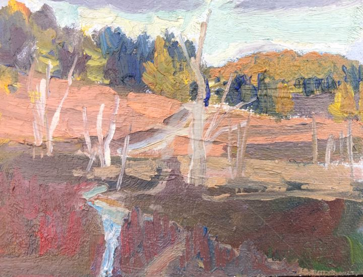 Golden Hour, Hankley - Painting,  5.9x7.9 in, ©2020 by Georgina Rey -                                                                                                                          Expressionism, expressionism-591