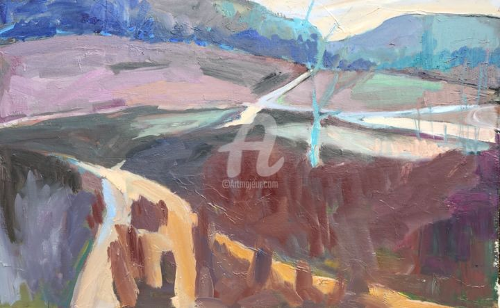 Paths and Heather, Winter. - Painting,  27.6x43.3x1.6 in, ©2021 by Georgina Rey -                                                                                                                          Expressionism, expressionism-591