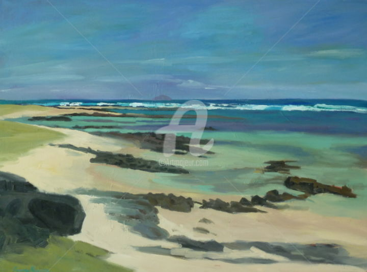 Round Island at Low tide - Painting, ©2016 by Georgina Rey -