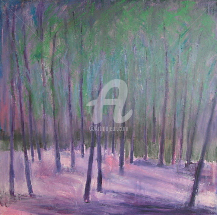 Purple Forest - Painting,  47.2x47.2x1.6 in, ©2017 by Georgina Rey -                                                                                                                                                                          Abstract, abstract-570, Abstract Art