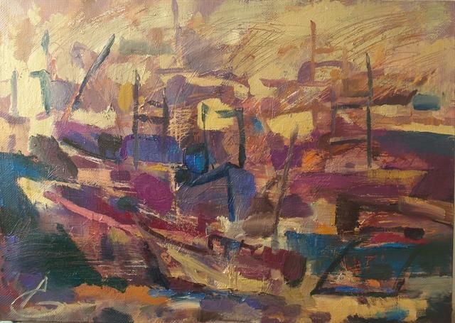 Лодки/Boats - Painting,  70x50 cm ©2012 by Anastasiya Georgievskaya -                            Figurative Art, лодки, море, рыбатские судна, boats, the sea, rybatskie ship