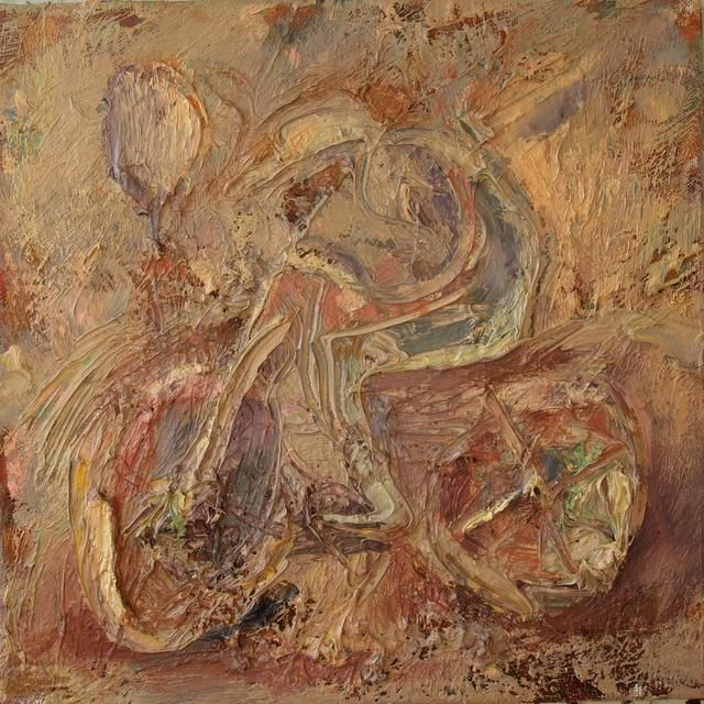 Прогулка Walk - Painting,  30x30 cm ©2012 by Anastasiya Georgievskaya -                            Abstract Expressionism, велосипед, велосипедист, bicycle, cyclist
