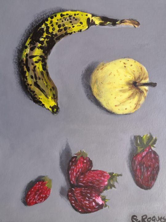 """Painting titled """"POMME BANANE ET FRA…"""" by Georges Roques, Original Art, Acrylic"""