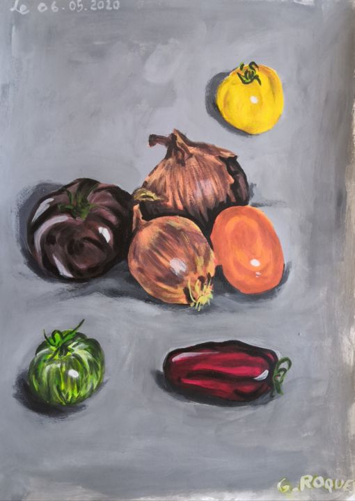 """Painting titled """"tomates oignons"""" by Georges Roques, Original Art, Acrylic"""
