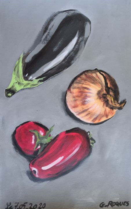 """Painting titled """"TOMATE AUBERGINE OI…"""" by Georges Roques, Original Art, Acrylic"""