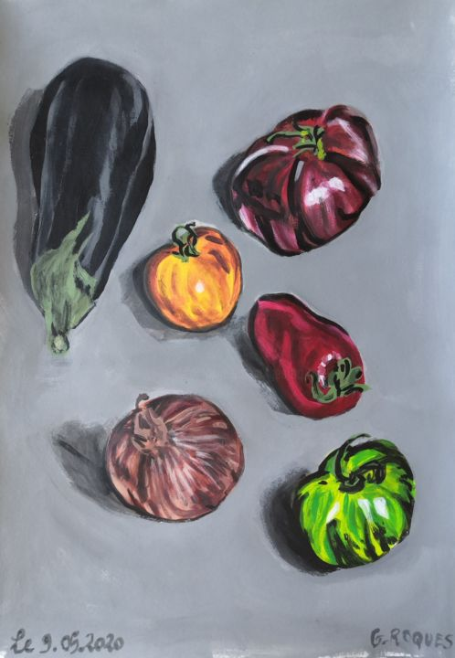 """Painting titled """"AUBERGINE TOMATES O…"""" by Georges Roques, Original Art, Acrylic"""