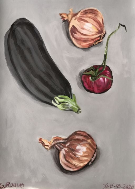 """Painting titled """"Aubergine, tomate,…"""" by Georges Roques, Original Art, Acrylic"""