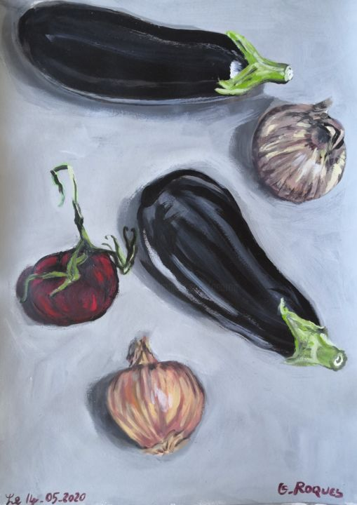 """Painting titled """"TOMATES, AUBERGINES…"""" by Georges Roques, Original Art, Acrylic"""