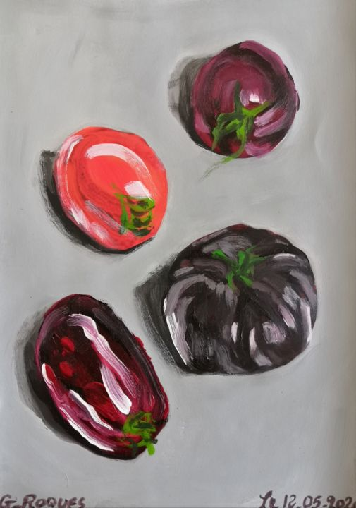 """Painting titled """"TOMATES"""" by Georges Roques, Original Art, Acrylic"""