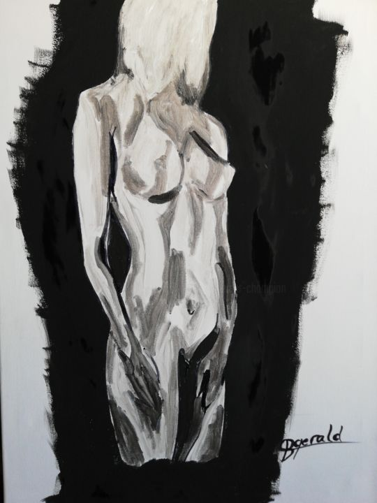 """Painting titled """"Nude on negative fi…"""" by Gerald Berger-Champion, Original Art, Acrylic"""
