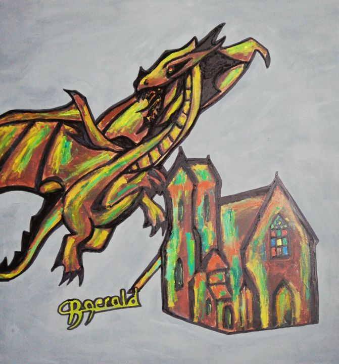 """Painting titled """"Church and Dragon"""" by Gerald Berger-Champion, Original Art, Acrylic"""