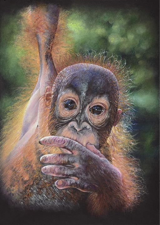 """Drawing titled """"Hanging on for Dear…"""" by Geraldine Simmons, Original Art, Pastel"""