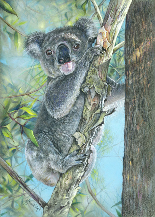 """Drawing titled """"High in the Tree to…"""" by Geraldine Simmons, Original Art, Pastel"""