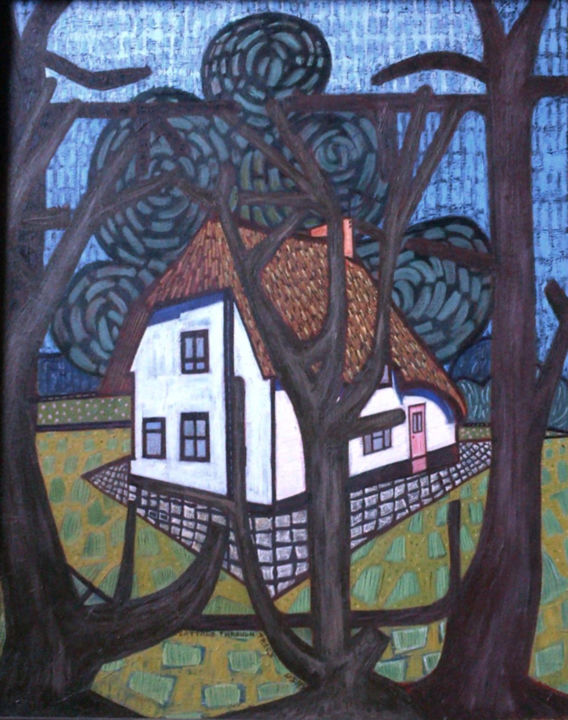Cottage Through Trees - Painting, ©1995 by Gerald Shepherd -                                                                                                                                                                          Outsider Art, outsider-art-1044, Landscape