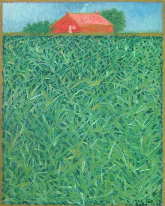 """Painting titled """"The Red Barn"""" by Gerald Shepherd, Original Art, Oil"""