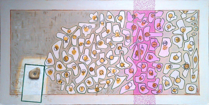 Pebble Elaboration - Painting, ©2018 by Gerald Shepherd -                                                                                                                                                          Abstract Art, sequences, symbols