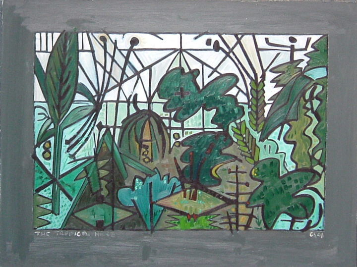 The Tropical House - Painting, ©2018 by Gerald Shepherd -                                                                                                                                                                                                      Landscape, plants, flowers, garden