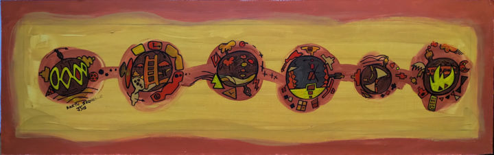 Earth Sequence - Painting, ©2018 by Gerald Shepherd -                                                                                                                                                                                                                                                                                                  Pulpboard, Landscape, surrealism, sequence, sequence art, landscape