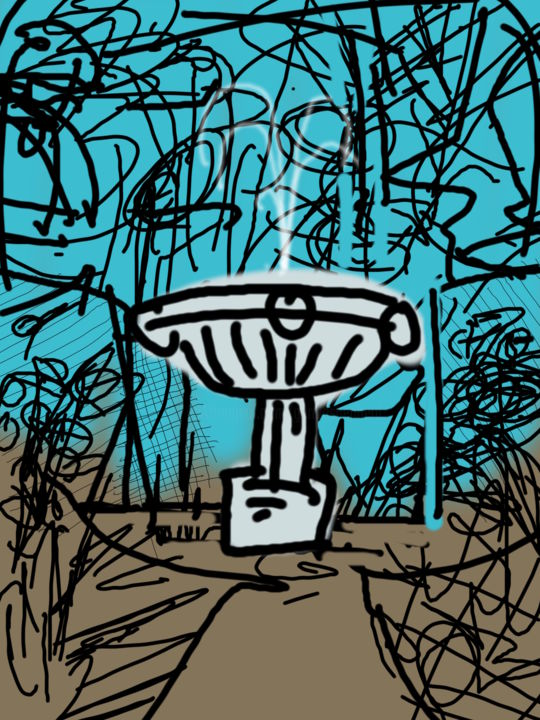 Scribble Landscape With Fountain - ©  garden, landscape, scribble Online Artworks