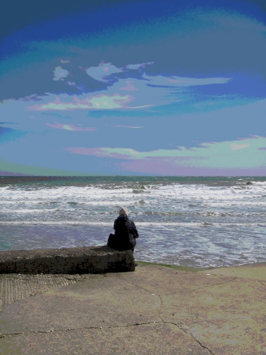 Alone On The Beach - ©  beach, person, alone, photographic effects Online Artworks