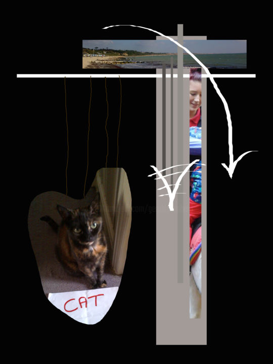 The Pull Of Heart Strings - Digital Arts, ©2016 by Gerald Shepherd -                                                                                                                                                                                                                                                                                                                                                              Surrealism, surrealism-627, Abstract Art, abstract, cat, seaside, people