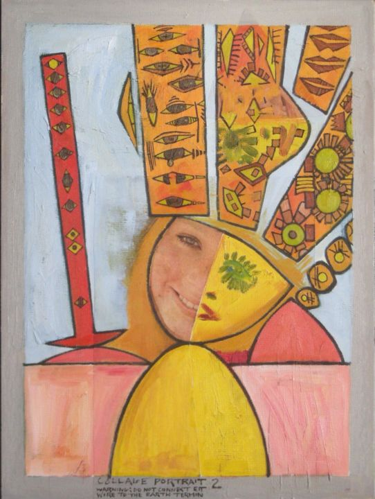 Collage Portrait 2 - Painting, ©2019 by Gerald Shepherd -                                                                                                                                                                                                                                                                                                                  Surrealism, surrealism-627, Portraits, portrait, girl, symbols