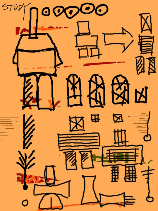 A Man Reading A Newspaper In A Lavatory - ©  diagrams, scribbles, notes, figures, symbols Online Artworks