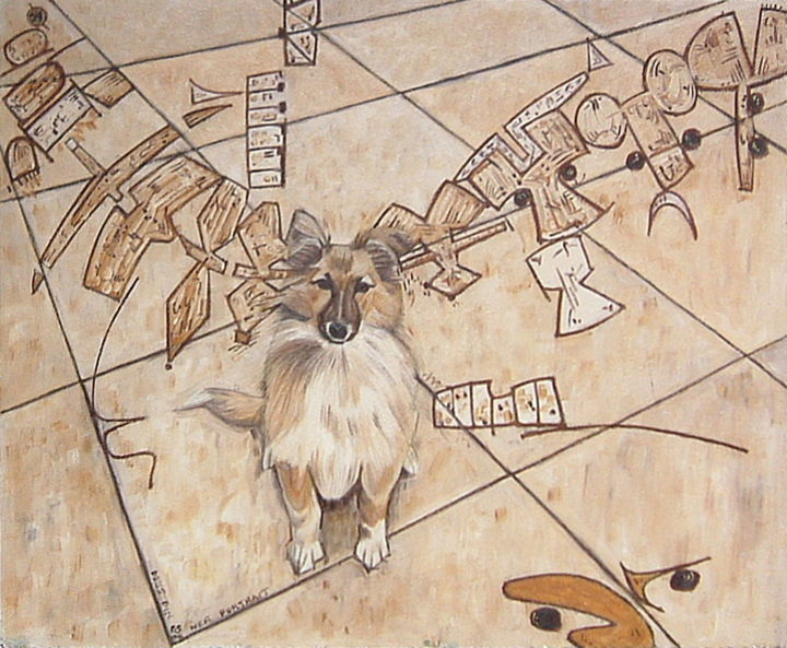 Dog's Dinner Portrait - Painting, ©2019 by Gerald Shepherd -                                                                                                                                                                                                                                                                                                                                                                                                                                                      Surrealism, surrealism-627, Abstract Art, Animals, oil painting, dog, portrait, symbols, sequences
