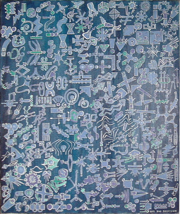 Ionoscape One - Inside Infinite Midnight - Painting, ©2019 by Gerald Shepherd -                                                                                                                                                                                                                                                                                                                                                              Outsider Art, outsider-art-1044, Abstract Art, oil painting, symbols, midnight, infinity