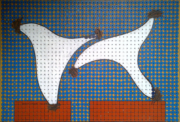 Doves On A Roof Top - Painting, ©2019 by Gerald Shepherd -                                                                                                                                                                                                                                                                                                                                                                                                                                                                                                                                                  Outsider Art, outsider-art-1044, Other, Abstract Art, Birds, acrylic painting, peg board, doves, birds, abstract, outsider artist