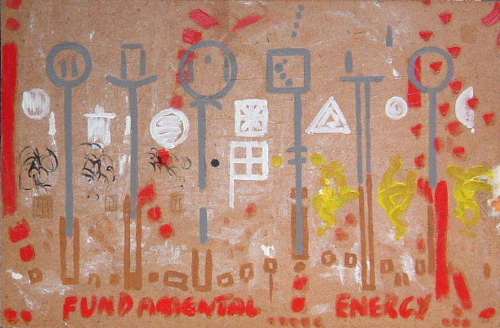 Fundamental Energy - Painting, ©2019 by Gerald Shepherd -                                                                                                                                                                                                                                                                                                                                                                                                                                                          Outsider Art, outsider-art-1044, Pulpboard, Abstract Art, mixed media, abstract, energy, symbols, outsider artist