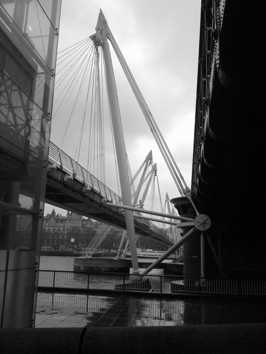 Wet Day Bridge - ©  black and white photography, bridge, urban scene, London, cityscape, abstract, Black and White Online Artworks