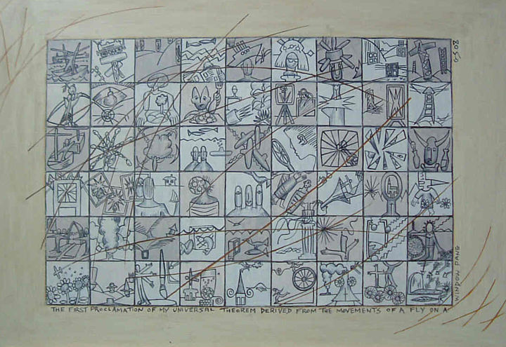 The First Proclamation Of My Universal Theorem - Drawing, ©2019 by Gerald Shepherd -                                                                                                                                                                                                                                                                                                                                                                                                                                                                                                                                                  Outsider Art, outsider-art-1044, Pulpboard, Abstract Art, Fantasy, pencil drawing, image sequences, fantasy, scenes, sequences, surrealism