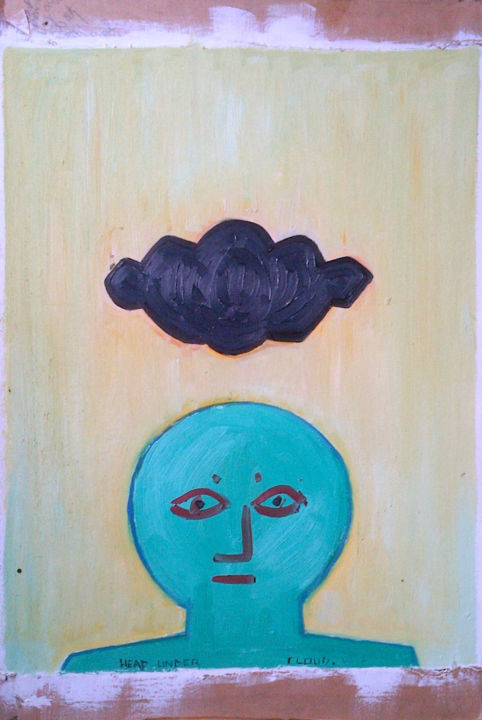 Head Under Cloud - ©  oil painting, head, cloud, outsider artist Online Artworks
