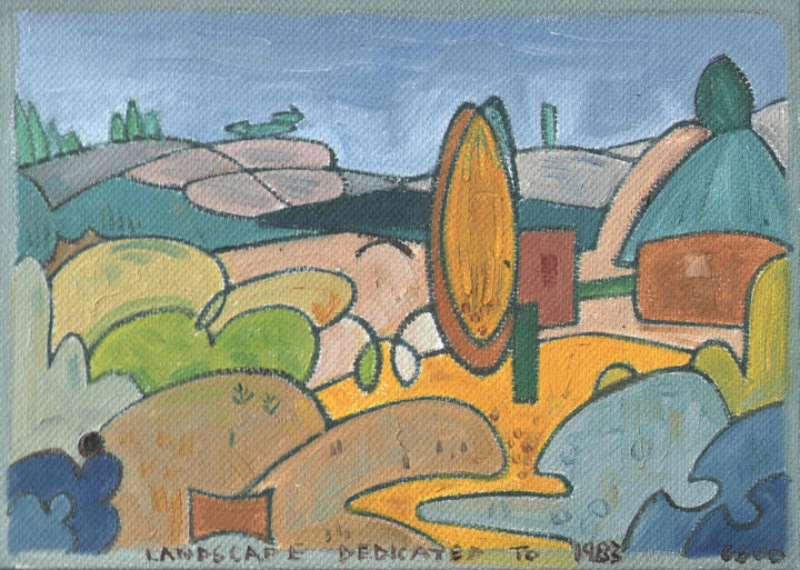 Landscape Dedicated To 1983 - Painting, ©2019 by Gerald Shepherd -                                                                                                                                                                                                                                                                                                                                                              Outsider Art, outsider-art-1044, Landscape, oil painting, landscape, 1983, Jimi Hendrix
