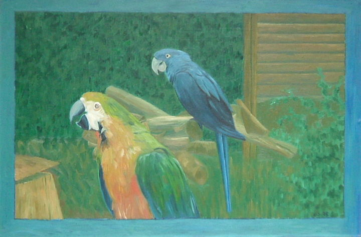 Parrots - Painting, ©2019 by Gerald Shepherd -                                                                                                                                                                                                                                                      Pulpboard, Birds, oil painting, parrots, conventional painting
