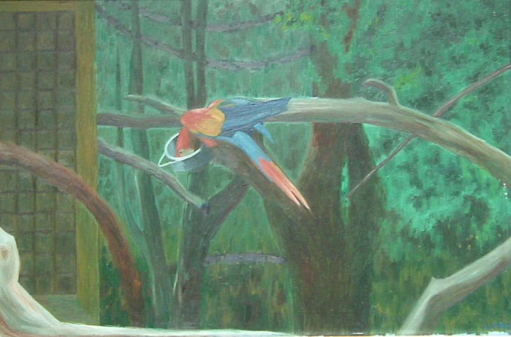 Parrot - Painting, ©2019 by Gerald Shepherd -                                                                                                                                                                                                                                                      Pulpboard, Birds, oil painting, parrot, conventional painting