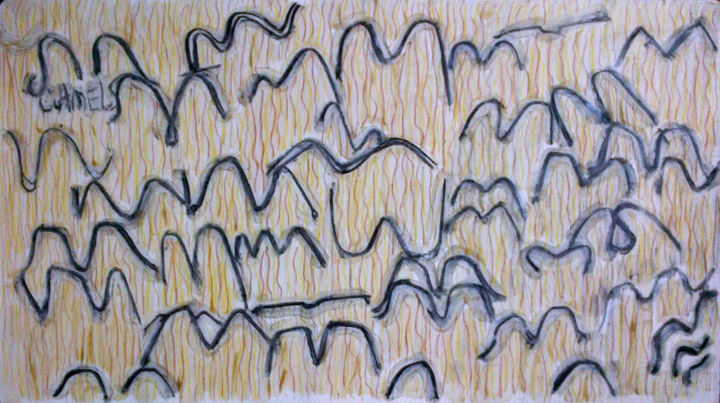 Camels - ©  drawing, camels, abstract Online Artworks