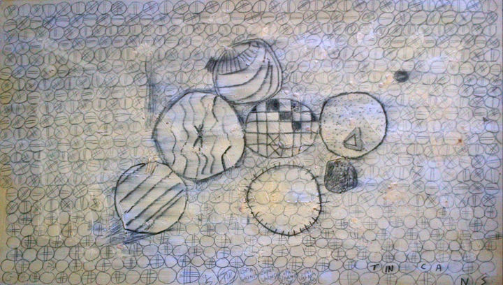 Tin Cans - ©  drawing, tin cans, copal varnish study, abstract still life Online Artworks