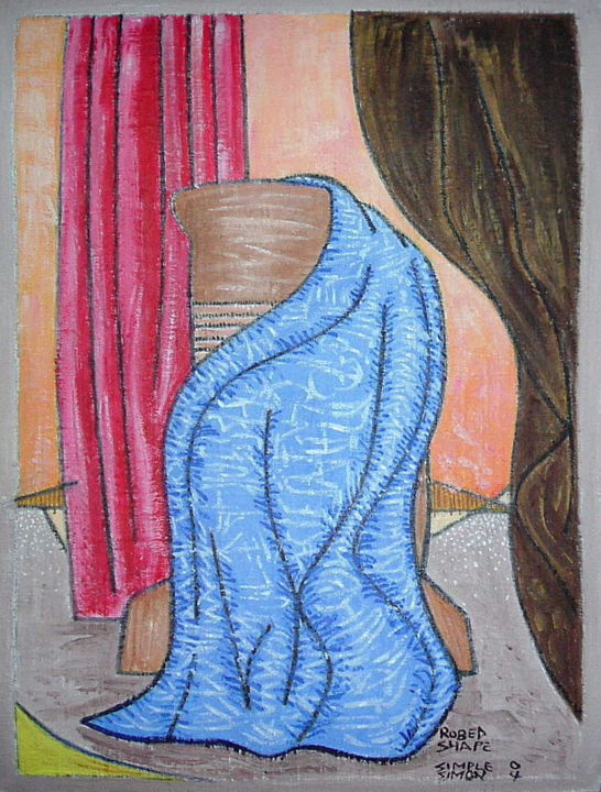 Robed Shape - Painting, ©2019 by Gerald Shepherd -                                                                                                                                                                                                                                                                                                                                                                                                                                                                                                  Outsider Art, outsider-art-1044, Abstract Art, Still life, acrylic painting, painting on bandage, bandage painting, abstract, robe, shape