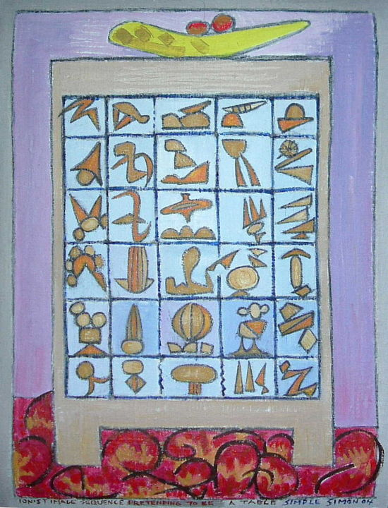 Ionist Image Sequence Pretending To Be A Table - Painting, ©2019 by Gerald Shepherd -                                                                                                                                                                                                                                                                                                                                                                                                                                                                                                                                              Outsider Art, outsider-art-1044, Abstract Art, Still life, acrylic painting, painting on bandage, bandage painting, abstract sequence, image sequence, symbol sequence, abstract