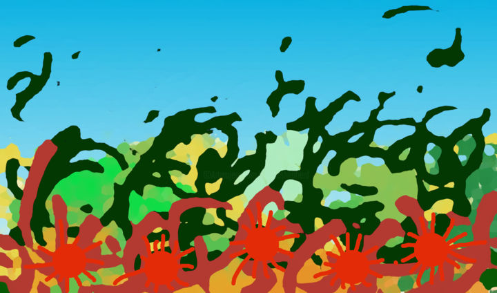Red Mites - ©  digital painting, abstract, red mites, patterns Online Artworks